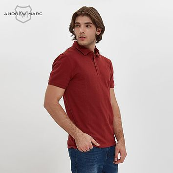 Men Polo Slim Shirt Solid Color Cotton Leisure Business Turn Downing Collar