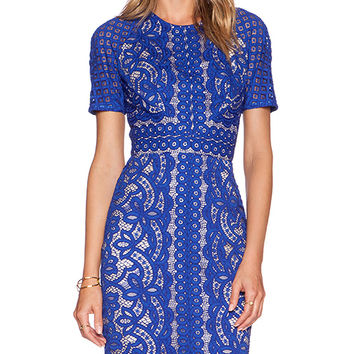 Lover Poppy Fitted Dress in Blue