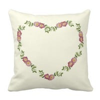 Floral Heart Wreath Throw Pillow