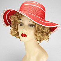 Red & White Wide Brim Summer Hat