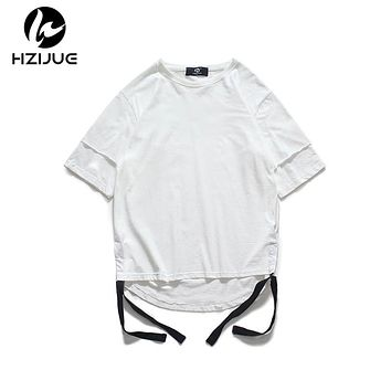 High street loose male Original double sleeves design t-shirt summer men cotton Tops
