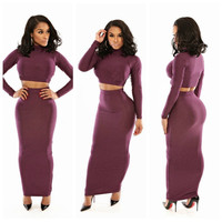 Purple Long Sleeve Cropped Top and Bodycon Maxi Skirt