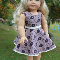 floral print dress with skater/circle style skirt and belt, 18 inch doll clothes, american girl, maplelea