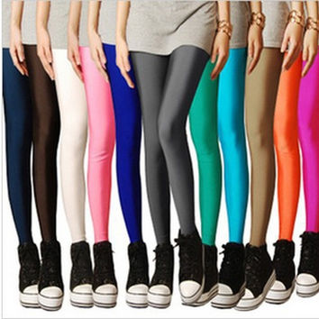 clothing plug size legging pants fitness Solid candy Neon leggings for women High Stretched Yoga sports = 1932874564