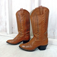 Cowgirl boots 6.5 / Vintage 80s Dan Post boots  / womens brown leather western boots