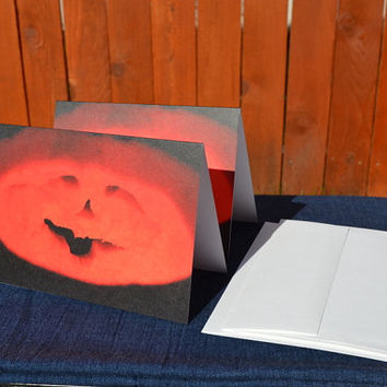 Halloween Smiling Jack-o-lantern Pumpkin Cards Set, set of 2 with white envelopes included, 5 x 7 inch size printed from my photography