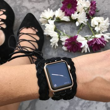 The Kristi II-Suede Braided Apple Watch Wrap Band