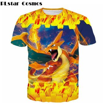 PLstar Cosmos   Hot Cartoon  T shirt Men Women Funny 3D t shirt Anime Charizard Print summer style Tees topsKawaii Pokemon go  AT_89_9