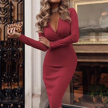 Ladies V-neck Long Sleeve Bodycon Knee-Length Pencil Dress {}