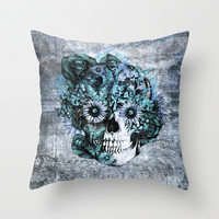 Blue grunge ohm skull Throw Pillow by Kristy Patterson Design   Society6