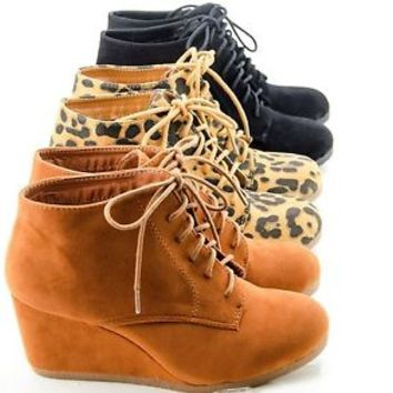 Women's Ankle Boots Wedge Heel Lace Up Round Toe Booties Shoes New Sizes 6-10