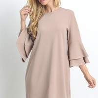 Flare Sleeve Shift Dress - Taupe