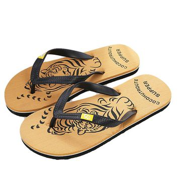 New Summer Brand Men Print Flip Flops Eva Animal Prints Tiger Designer Flat Sandals Home Slippers Male Slides Casual Beach Shoe