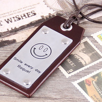 Personalized Leather Luggage Tag - Handmade Leather Smile Face Tag - Custom Leather Tag - Anniversary, Groomsmen, Christmas Luggage Tag