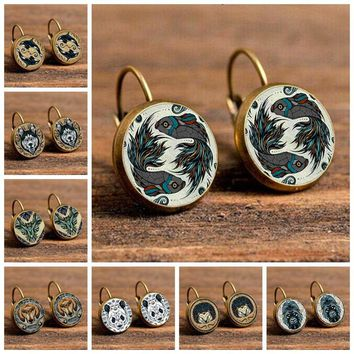 Winterxue 16 Style Handmade DIY Glass Cabochon Stud Earrings For Women Charming Animal Eagle DOG Wolf Dragon Pattern Pendientes
