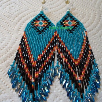 Brick stitch beaded Native American inspired Dark Turquoise Blue Roxanne Bird earrings