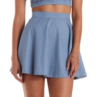 Light Blue Polka Dot Chambray Skater Skirt by Charlotte Russe