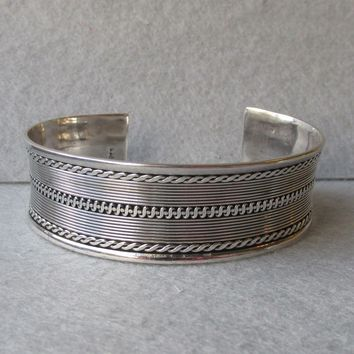 "Rope Textured 3/4"" Wide Vintage Sterling Silver Cuff Bracelet, 7"" - 8"""