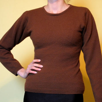 Vintage Sweater Brown Wool Puffy Sleeves 50s 60s Style Size Small HOLIDAY SALE