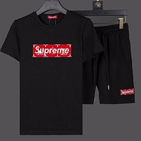 Boys & Men Louis Vuitton X Supreme Fashion Casual Shirt Top Tee Shorts Two Piece Set