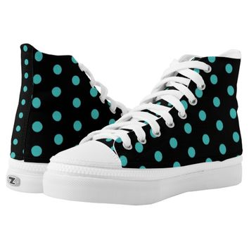 Black and Turquoise Blue Polka dots Pattern Printed Shoes