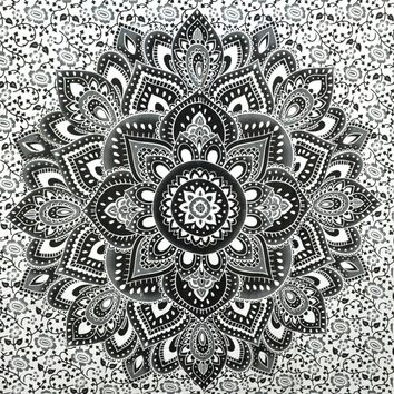 Becca Black Lotus Mandala Boho Wall Bed Tapestry