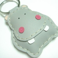 Hugo the Hippo Leather Keychain ( Grey )
