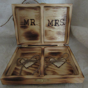 Rustic Woodland Wood Burned Personalized Ring bearer Box Fall Wedding