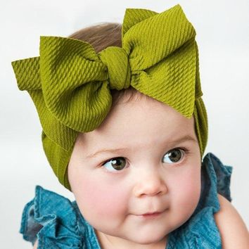 Fit All Baby Large Bow Girls Headband Big Bowknot Headwrap Kids Bow for Hair Cotton Wide Head Turban Infant Newborn Headbands