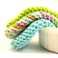 Knitted Dishcloth Set Lime Green Aqua Blue Pink Cotton Wash Cloths