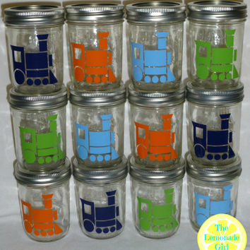 Set of Twelve ASSORTED 12 Eco Friendly Reusable Kid Sized MASON JARS  Kerr Personalized