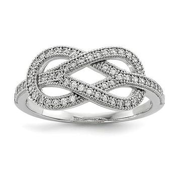 Sterling Silver & Clear CZ Brilliant Embers Love Knot Ring