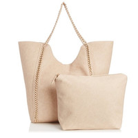 Caitlyn Chain Tote Handbag In Ivory