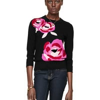 Kate Spade Rose Intarsia Sweater Black Multi