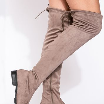 Beige Faux Suede Thigh High Boots @ Cicihot Boots Catalog:women's winter boots,leather thigh high boots,black platform knee high boots,over the knee boots,Go Go boots,cowgirl boots,gladiator boots,womens dress boots,skirt boots.