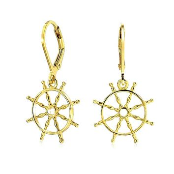 Ship Wheel Anchor Earrings Leverback 14K Gold Plated Sterling Silver