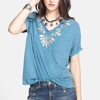 Free People Cutout Double V-Neck Tee