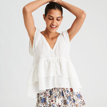 AE Double Ruffle Top, White