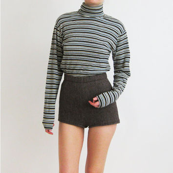 90s Stretchy Cotton Turtleneck Top Small Medium