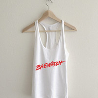 Baewatch Vintage 90's Lifeguard Surf Typography Tank Top