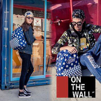 VansFashion Personality printing large capacity backpack bag leisure travel boom Blue wave point grid 8 style