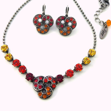 MAI TAI SUNSET Swarovski crystal necklace and earrings Jewelry set in red, yellow and orange, warm tones