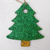 Christmas Gift Tag, Gift Tag, Chalkboard Tag, Wooden Gift Tag, Present Tag, Christmas Tree, Glittered Tag, Glitter, Green, Gold, Black