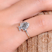 Cute 925 Sterling Silver Fish Ring