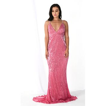 Fire and Ice Pink Sequin Sleeveless Spaghetti Strap Plunge V Neck Backless Maxi Dress Gown