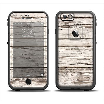The White Painted Aged Wood Planks Skin Set for the Apple iPhone 6 LifeProof Fre Case