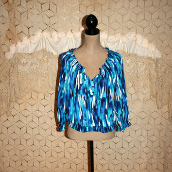 Peasant Blouse Hippie Top Boho Clothing Blue Chiffon Abstract Print Blouson Jones New York Small Medium Womens Clothing