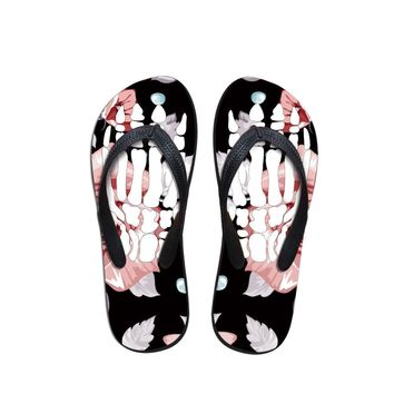 Fashion Black Skull Flip Flops Women Floral Flat Slippers Beach Sandals Shoes