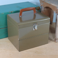 Vintage Industrial Metal Carrying Case . Circa 1960s . Handy Storage for Film Reels, 45 RPM Records, Art Supplies, Batteries, Small Files