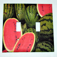 Double Light Switch Cover - Light Switch Plate Watermelon Tropical Fruit